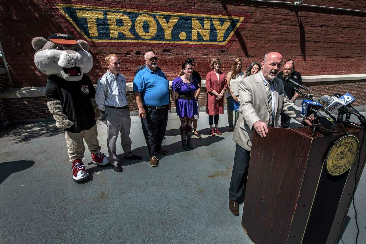 Troy Mayor Patrick Madden speaks to the media gathered about the various events calendar that will occur in the city over the summer months at a press briefing Monday May 29, 2018 in Troy, N.Y. (Skip Dickstein/Times Union)