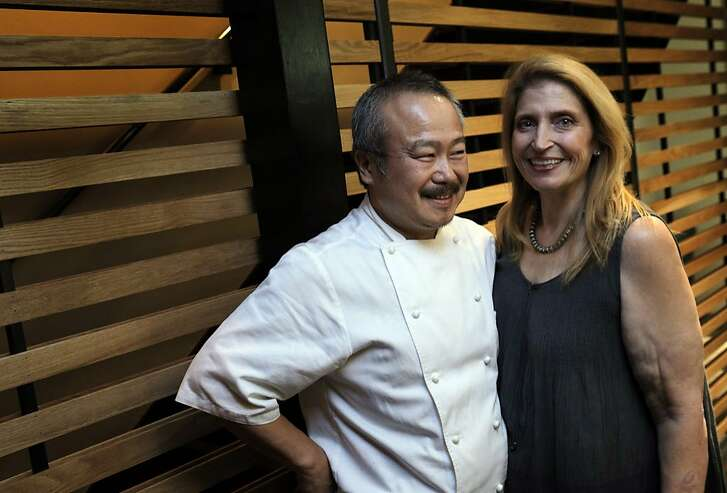 Chef/owners, Hiro Sone and Lissa Doumani at the new Urchin Restaurant in San Francisco, Calif. The restaurant held a dinner on Sunday, August 3, 2014, for family and friends prior to its official opening on Monday.
