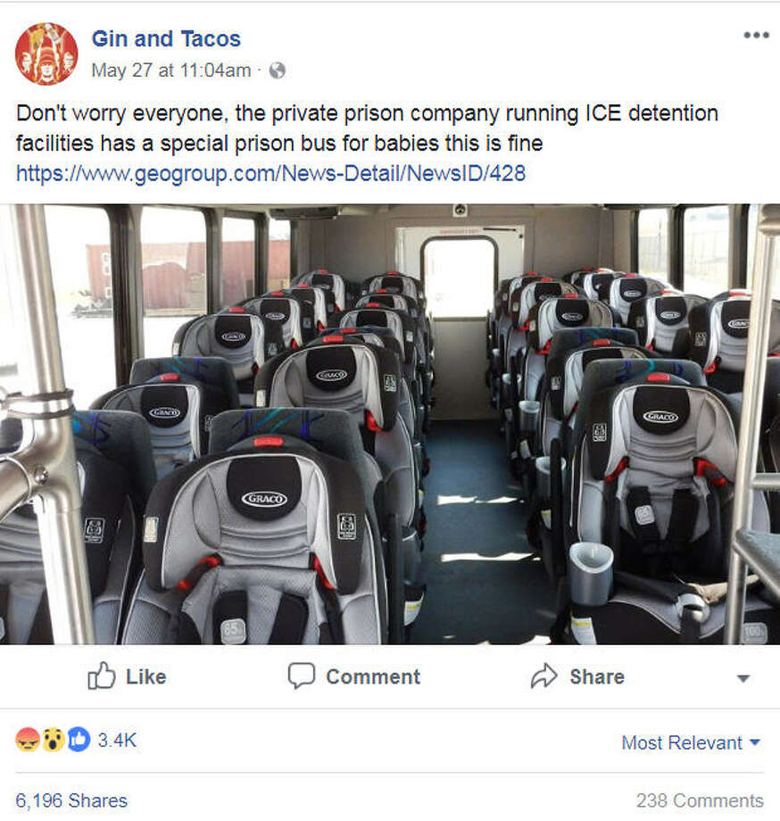 A photo of a vehicle outfitted for children at the Karnes County Residential Center ran by the U.S. Immigration and Customs Enforcement agency has sparked online fury on May 27, 2018.Image source: FacebookScroll ahead to see which cities reportedly had the most undocumented immigrants in America in 2017. Photo: Gin And Tacos Via Facebook