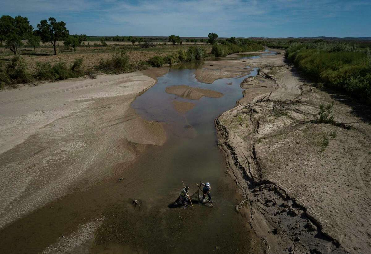 United States Fish and Wildlife Service workers sieve minnows before the Rio Grande completely dries up, near Socorro, N.M., May 9, 2018. Even in a good year, much of the Rio Grande is diverted for irrigation, but it's only May, and the river is already turning to sand. (Josh Haner/The New York Times)