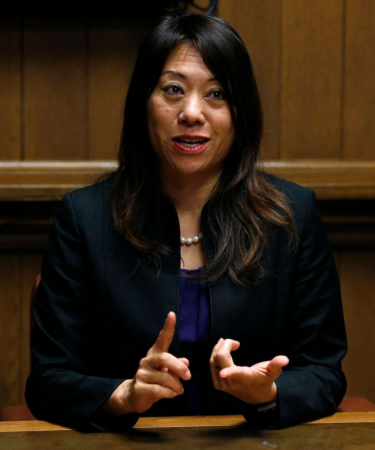 Candidate for state treasurer Fiona Ma meets with the Chronicle Editorial Board in San Francisco, Calif. on Wednesday, April 25, 2018.