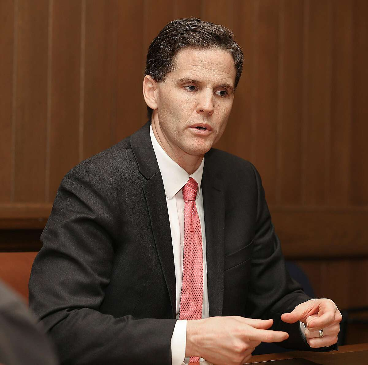 Marshall Tuck, Superintendent of Public Instruction, speaks at the San Francisco Chronicle on Friday, March 23, 2018, in San Francisco, Calif.