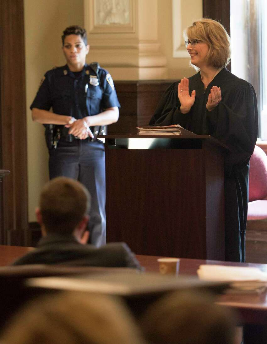 Judge Debra Young addresses the Drug Court graduation in her courtroom at the Rensselaer County Courthouse Thursday May 24, 2018 in Tory, N.Y. (Skip Dickstein/Times Union)