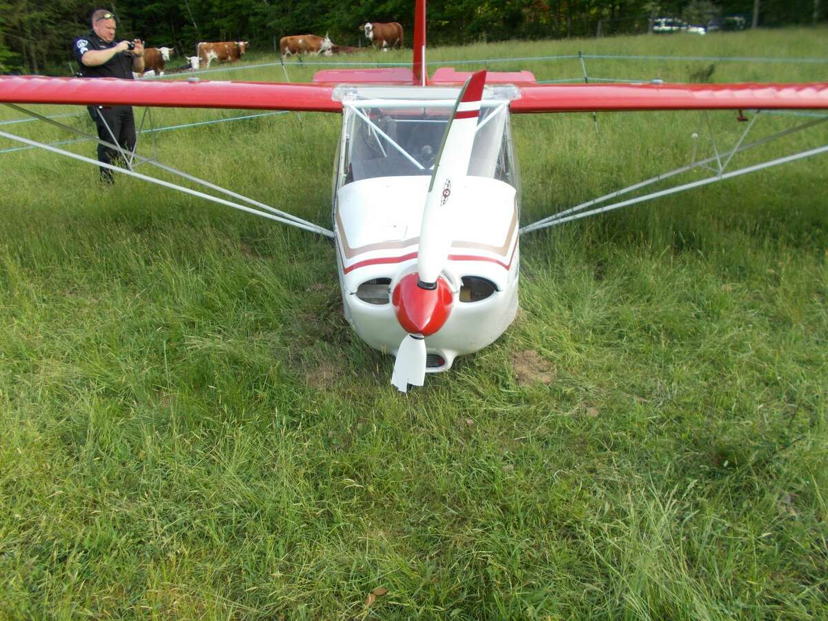 Two people were uninjured when their single-engine airplane crashed Saturday, May 26, 2018, in Taghkanic, Columbia County, the sheriff's office said.