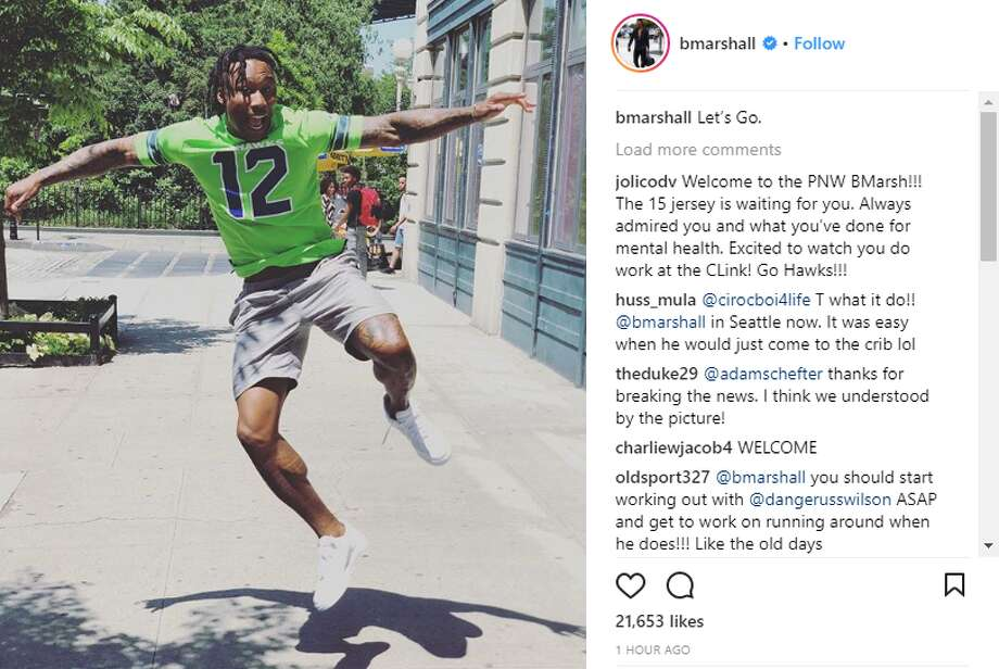 Brandon Marshall announces he's joining the Seahawks in one of many instagram posts. Photo: Instagram