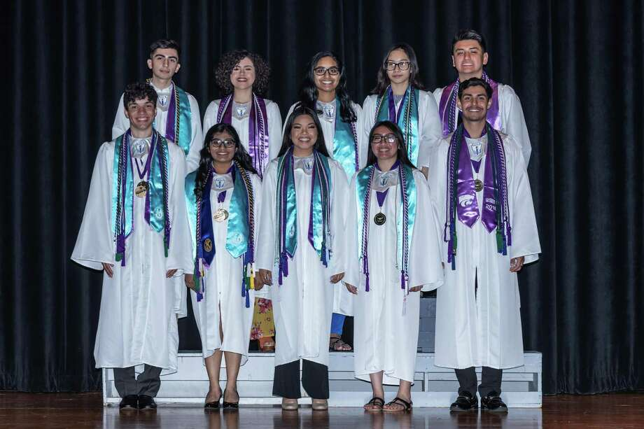 Humble High School's top 10 graduates for the class of 2018 pose for a photo. Front row (from left): William Bowie, Jenisha Patel, Erinne Palomo, Alinda Mac, Jose Amaya.   Back row (from left): James Guerra III, Gabriela Bastida, Alexandra Trevino, Stephanie Gonzaga, Aaron Ruelas. Photo: Courtesy Of Humble ISD / Courtesy Of Humble ISD