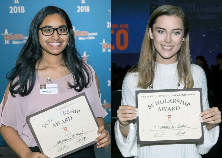 Humble High School student Alexandra Trevino and Kingwood High School student Alexandra Huckabee are among the recipients of Houston Livestock Show and Rodeo scholarships during the HLSR Scholarship Banquet on Wednesday, May 23. Photo: Courtesy Of Houston Livestock Show And Rodeo / Courtesy Of Houston Livestock Show And Rodeo