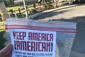 The flyers, which urge residents to report undocumented immigrants to Immigration and Customs Enforcement, were sealed in plastic baggies and weighed down with small stones. At the bottom of the flyer is a phone number for ICE and the URL for Blood and Soil's website.
