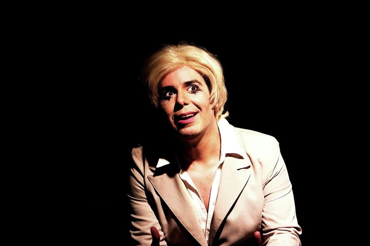 Jade Esteban Estrada becomes Ellen DeGeneres (pictured), Oscar Wilde, Sappho, Michaelangelo, Sylvia Rivera and Gertrdue Stein in his solo show
