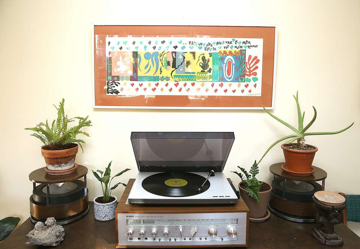 Close up of record console with Matisse print at home on Thursday, February 22, 2018, in Berkeley, Calif.
