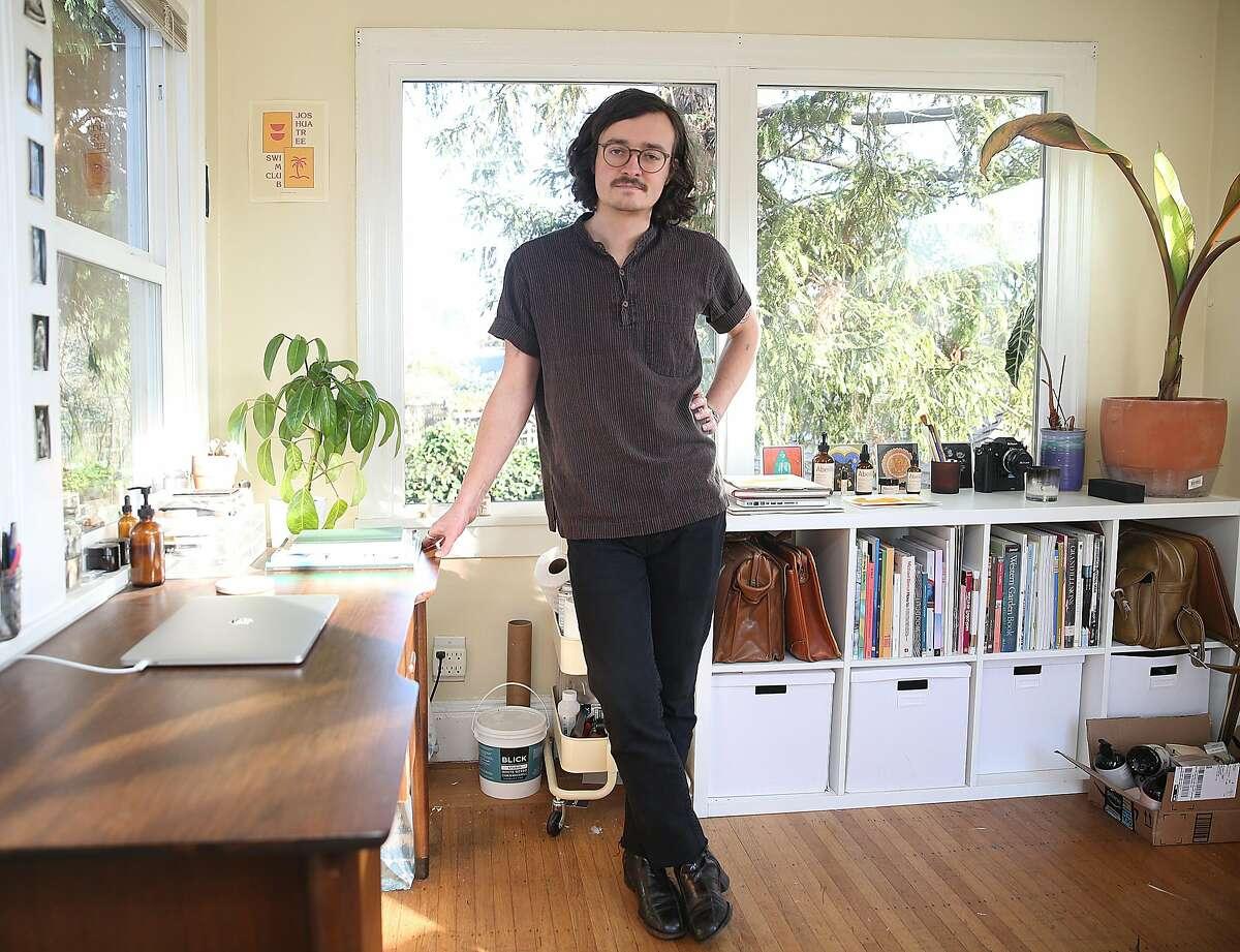Jordan Vouga shows his art studio at home on Thursday, February 22, 2018, in Berkeley, Calif.