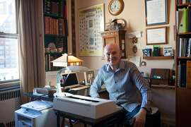 FILE � Richard Peck in his office at his home in New York, Sept. 15, 2016. Peck, a former English teacher whose award-winning novels for young readers used historical fiction, horror and other genres to tell stories about rape, unwanted pregnancy and suicide,�died on May 23, 2018 in Manhattan. He was 84. (Linda Jaquez/The New York Times)