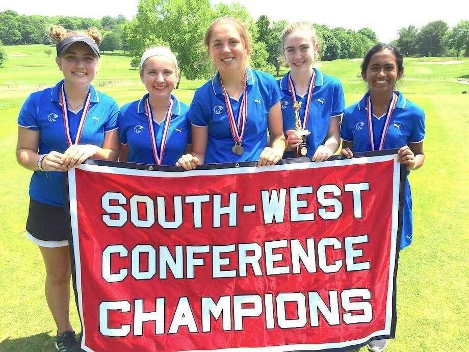SWC girls golf champions from Newtown include, from left, Gigi Marino, Sydney Marino, Sarah Houle, Liz Weisgerber and Nidhi Mukka. Photo: Contributed Photo