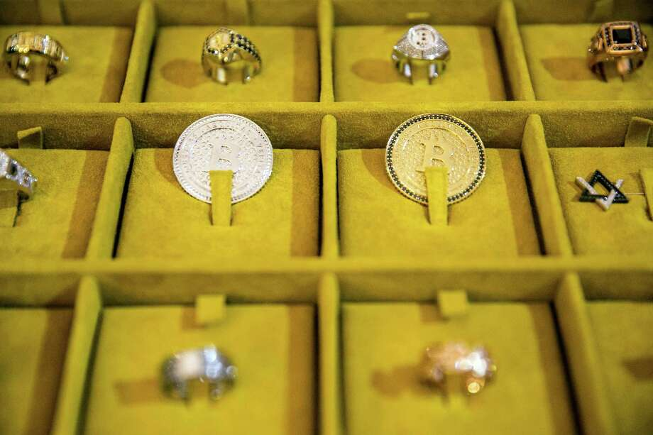 Rings share space with Bitcoins at Consensus 2018, a blockchain-themed conference that attracted more than 8,400 people, in New York, May 15, 2018. Photo: SAM HODGSON /NYT / NYTNS
