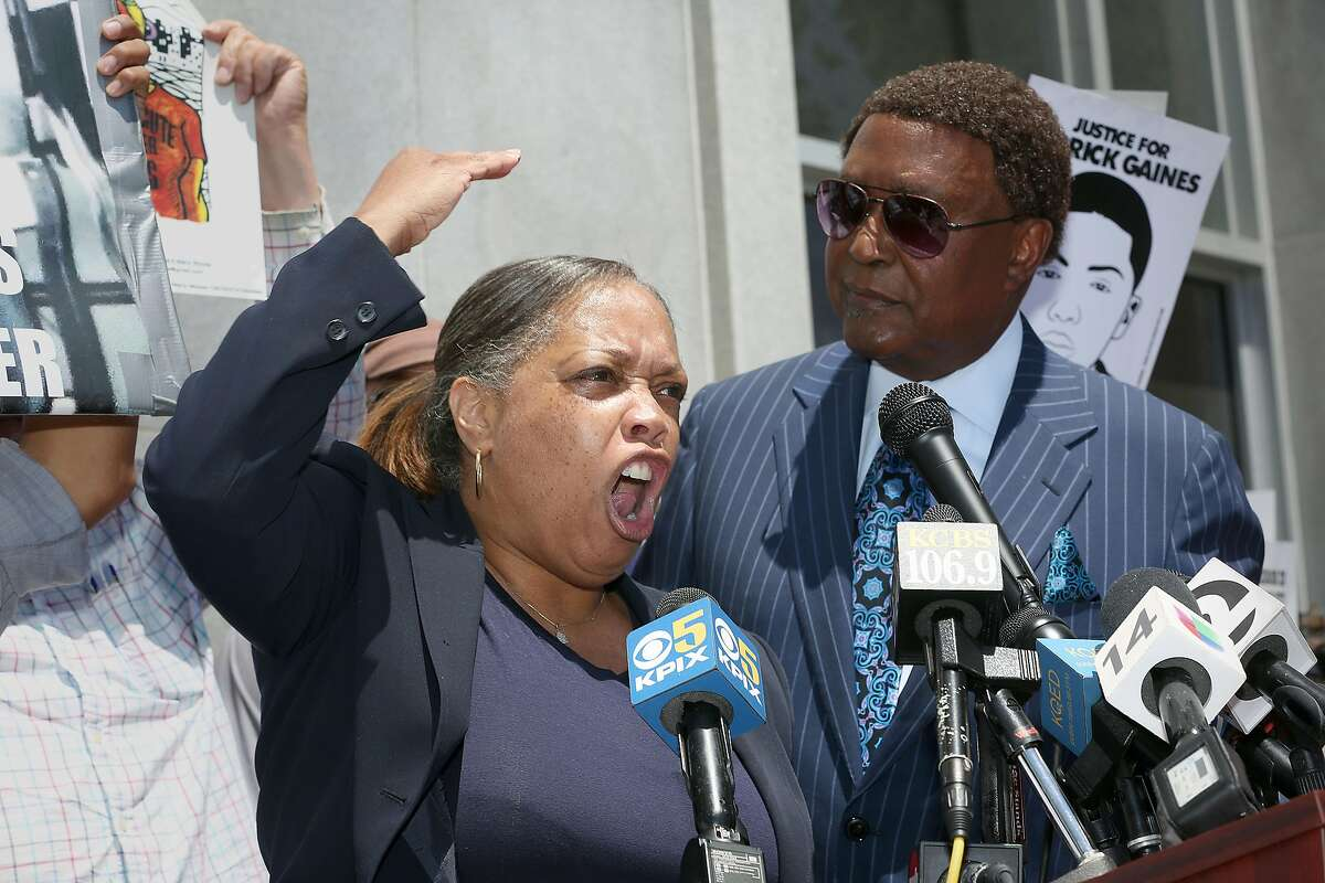 Mrs. Gwen Woods, mother of Mario Woods on Tuesday, May 29, 2018 in San Francisco, Calif. The families of Mario Woods and Luis G�ngora Pat will hold a joint press conference