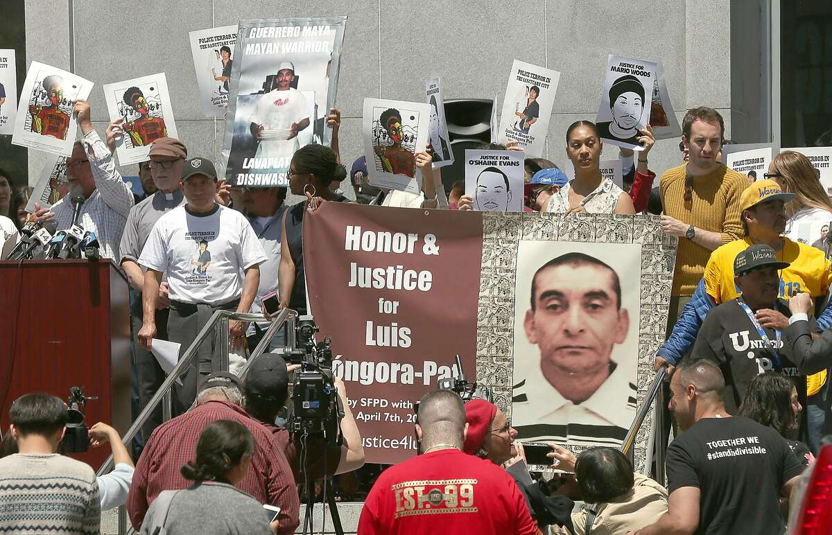 The families of Mario Woods and Luis G�ngora Pat protest in front of Hall of Justice to address the no charges decision by D.A. Gasc�n in the cases of their loved ones killed by police as they hold a joint press conference on Tuesday, May 29, 2018 in San Francisco, Calif.