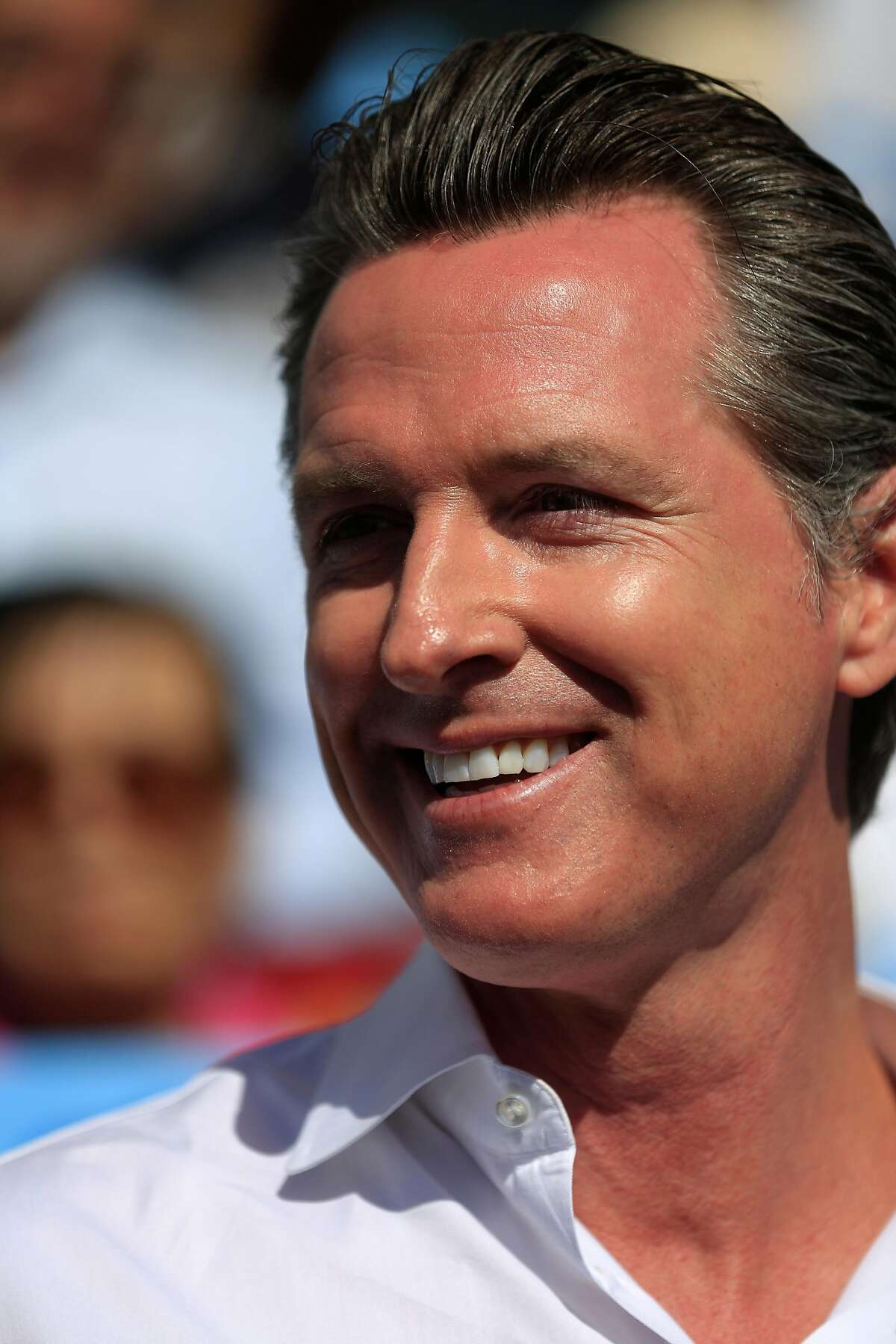Lieutenant Governor Gavin Newsom speaks during the launch of Newsom's statewide