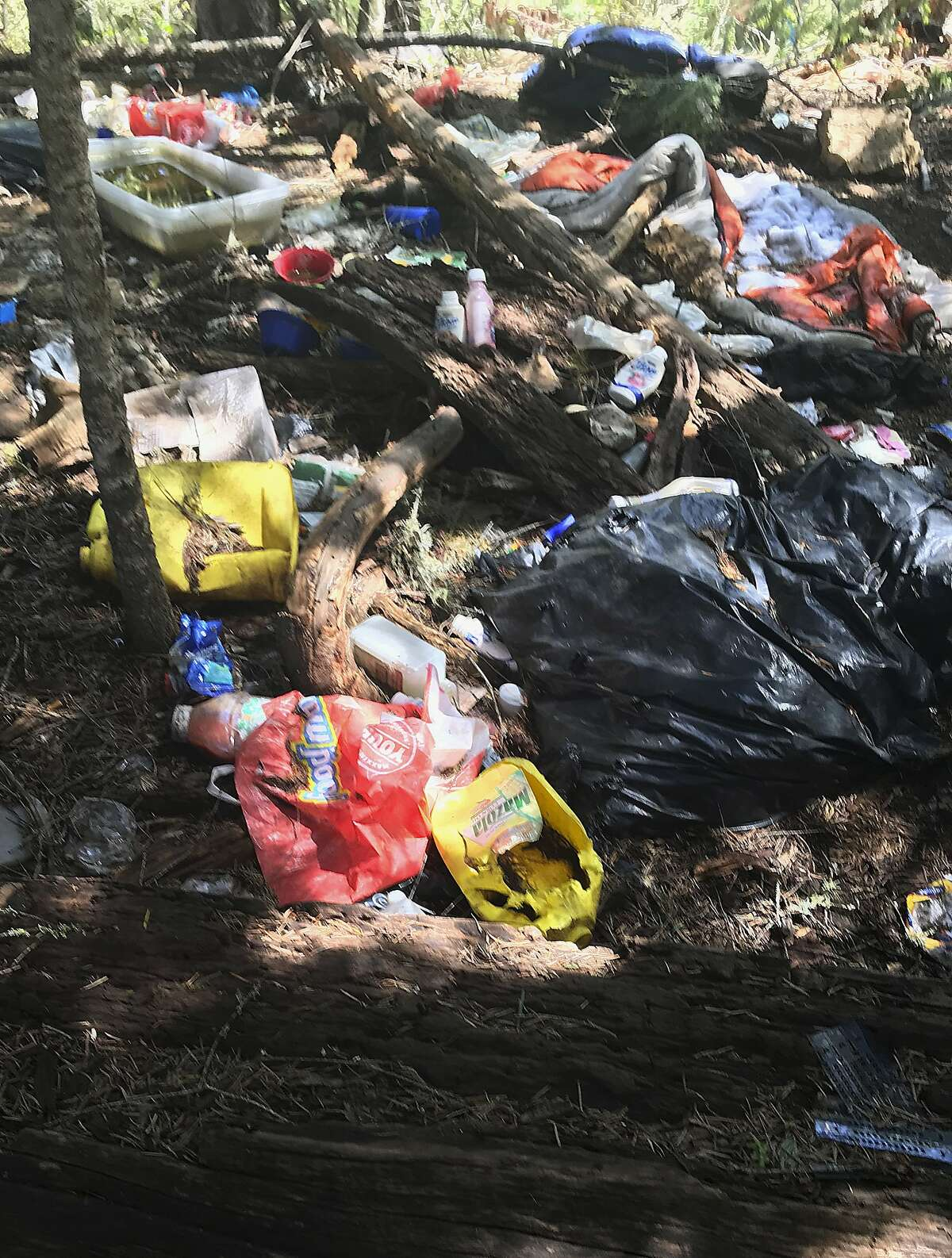 This Thursday, May 24, 2018, photo provided by the U.S. Attorney's Office shows trash found at an illegal marijuana grow site near Hayfork, Calif. Researchers and federal authorities are finding what they say is an alarming increase in the use of a powerful pesticide at illegal marijuana farms hidden on public land. (Lauren Horwood/U.S. Attorney's Office via AP)