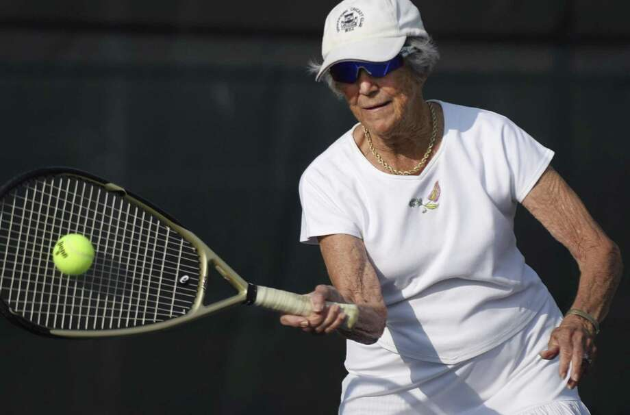 Margaret Canby, 85, is the top-ranked player in her age division in the country. She practices at the Blossom Athletic Center on Tuesday, May 15, 2018. Photo: Billy Calzada, Staff / San Antonio Express-News / San Antonio Express-News