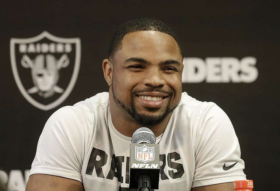 Oakland Raiders running back Doug Martin speaks to reporters at the team's NFL football training facility in Alameda, Calif., Tuesday, May 29, 2018. (AP Photo/Jeff Chiu) Photo: Jeff Chiu / Associated Press
