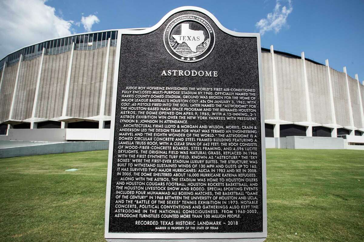 A Texas State Historical Marker, honoring the Astrodome, is dedicated on Tuesday, May 29, 2018, in Houston. See more photos from the Dome's special day...