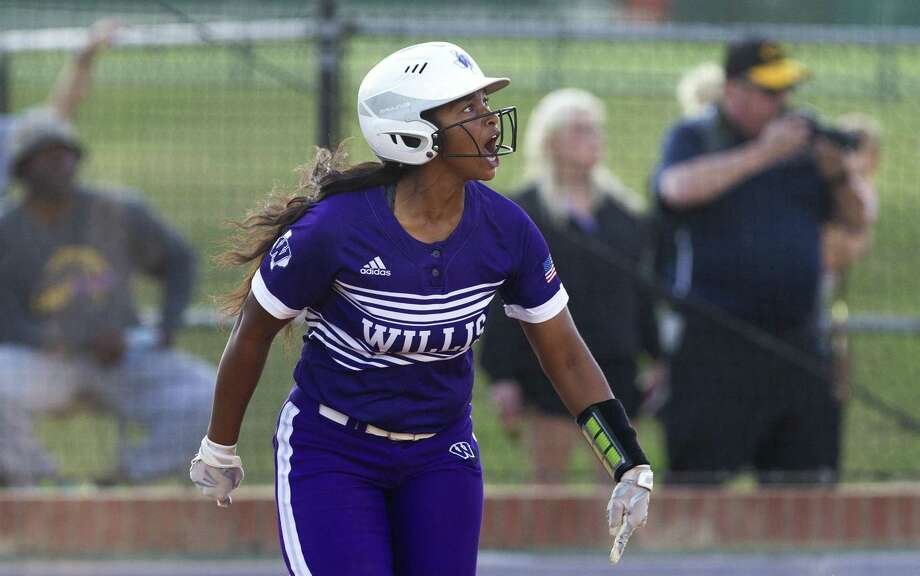 Samara Lagway (7) of Willis reacts after hitting a solo home run during the seventh inning of Game 2 in a Region III-5A quarterfinal series on Friday, May 11, 2018, in Montgomery. College Station defeated Willis 6-1. Photo: Jason Fochtman, Staff Photographer / Houston Chronicle / © 2018 Houston Chronicle