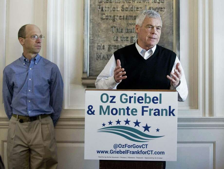Monte Frank and Oz Griebel, a team running on the Independent ticket for Lieutenant Governor and Governor, speak during a press conference at Edmond Town Hall in Newtown Jan. 6. Photo: Scott Mullin / For Hearst Connecticut Media / The News-Times Freelance