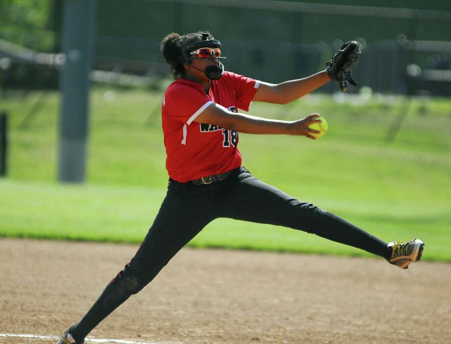 Warde pitcher Haley Bivens threw a two-hit shutout against Danbury on Tuesday. Photo: Ryan Lacey /Hearst Connecticut Media