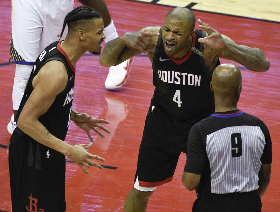 Houston Rockets forward PJ Tucker (4) and guard Gerald Green, left, argue a call with official Derrick Stafford during the second half of Game 7 of the NBA basketball Western Conference Finals against the Golden State Warriors, Monday, May 28, 2018, in Houston. Photo: Eric Christian Smith, FRE / Associated Press / FR171023 AP