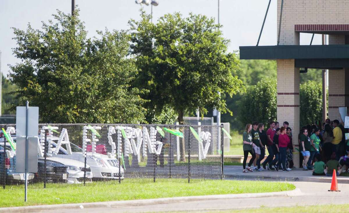 Santa Fe High School students return to school, Tuesday, 11 days after a shooter killed 10 people. ( Marie D. De Jesus / Houston Chronicle) Continue clicking to see photos of the tragic day in May at Santa Fe High School.