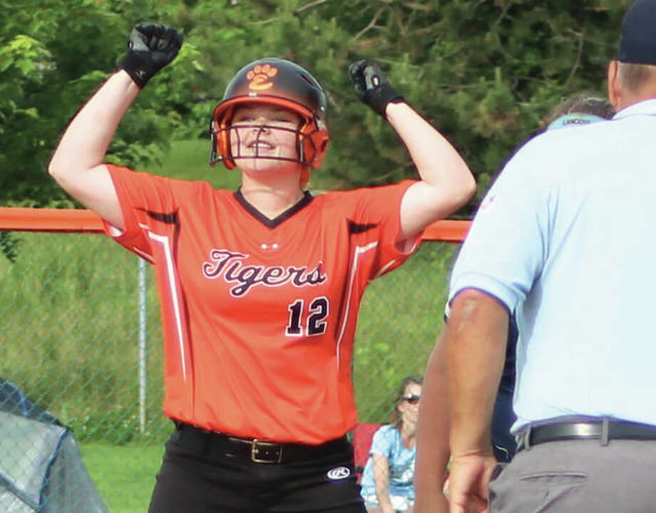 Edwardsville's Brooke Webber signals into the Tigers' dugout after hitting a double Tuesday in a Class 4A sectional semifinal victory over Belleville East in Edwardsville. Photo:     Greg Shashack / The Telegraph