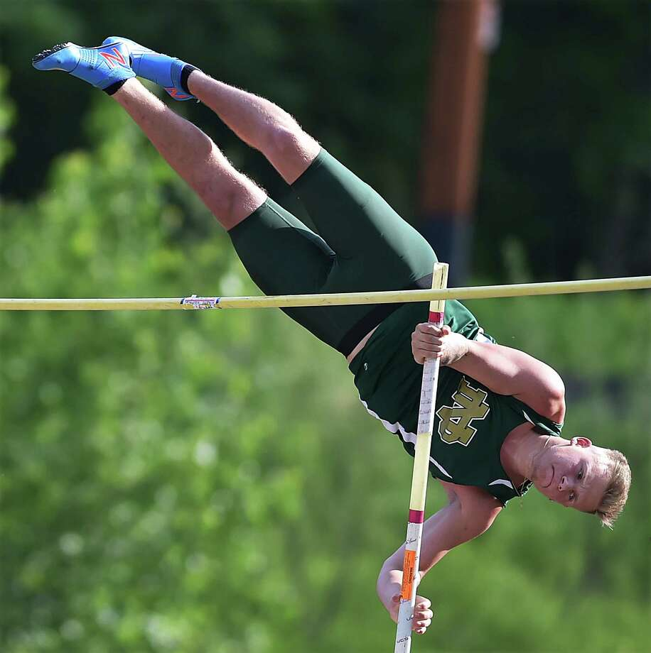 Notre Dame-West Haven's Nick Petruzzelli jumped 14-00.00 to win the pole vault at the CIAC class L track & field championships, Tuesday, May 29, 2018, at Middletown High School. Photo: Catherine Avalone, Hearst Connecticut Media / New Haven Register
