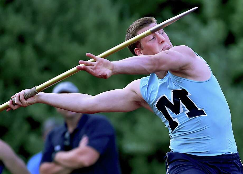 Middletown senior Dylan Drescher threw 172-02 to win the javelin throw at the CIAC Class L track and field championshipson Tuesday at Middletown High School. Drescher placed fourth in the shot put with a throw of 134-11. Photo: Catherine Avalone / Hearst Connecticut Media / New Haven Register