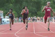 New Britain, Connecticut - May 29, 2018:  Terry Miller of Bulkeley High School wins the  girls 100-meter dash finals, fourth from left, during the CIAC Class M Outdoor Track and Field Championships Monday at Willowbrook Park in New Britain. Andraya Yearwood of Cromwell H.S, placed second, third from left, Nikkie Xiarhus of Berlin H.S. placed third, fifth from left, Ayesha Nelson of Hillhouse H.S. placed fourth, and Kisha Francois of East Haven H.S. fifth.