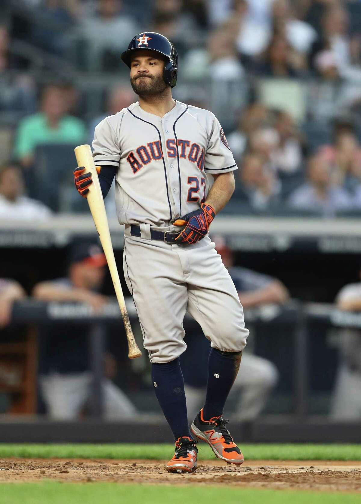 NEW YORK, NY - MAY 29: Jose Altuve #27 of the Houston Astros reacts after striking out against CC Sabathia #52 of the New York Yankees during their game at Yankee Stadium on May 29, 2018 in New York City.