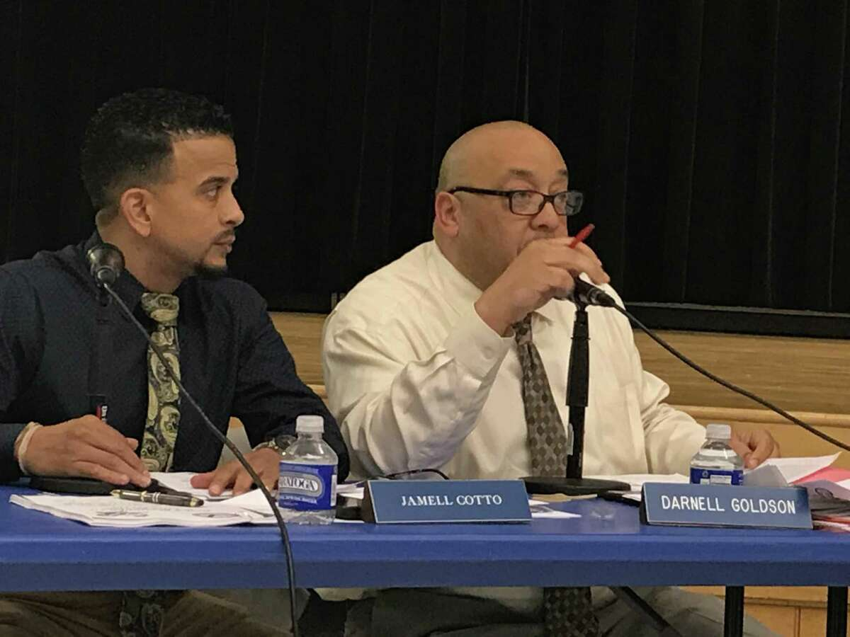 New Haven Board of Education Vice President Jamell Cotto, left, and President Darnell Goldson
