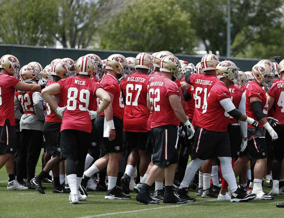 San Francisco 49ers players huddle during practice at the NFL football team's training camp in Santa Clara, Calif., on Tuesday, May 22, 2018. (AP Photo/Tony Avelar) Photo: Tony Avelar / AP / FR155217 AP