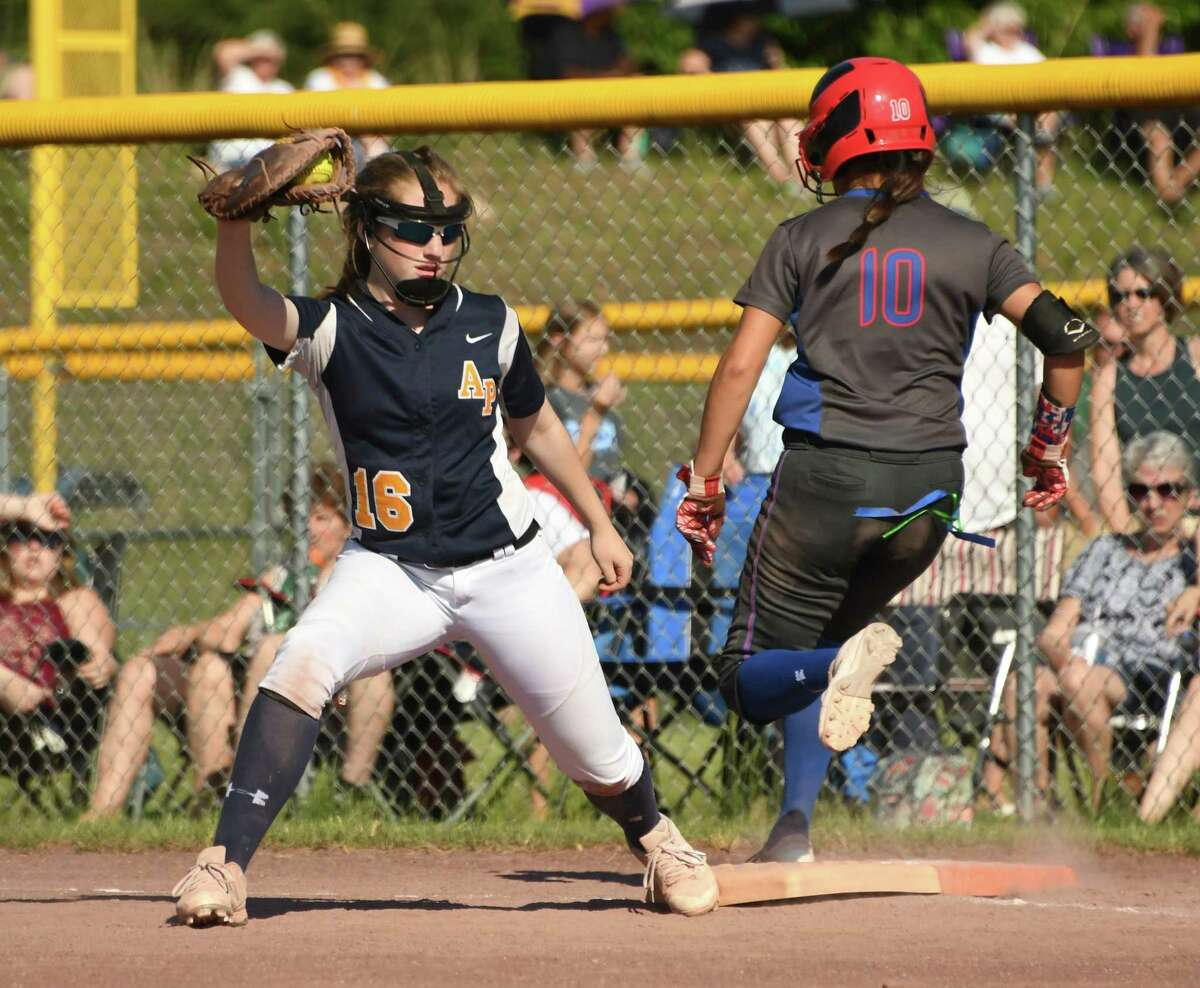 Averill Park first baseman Abby Nagel gets South Glens Falls' Hannah Mosher out during the Class A softball final at the Luther Forest Complex on Wednesday, May 29, 2018 in Malta N.Y. (Lori Van Buren/Times Union)