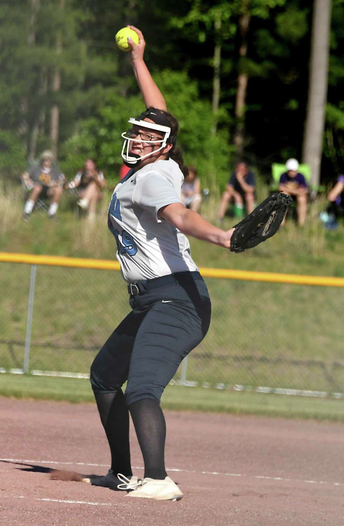 Columbia pitcher Jess Patterson throws the ball during the Class AA softball final against Ballston Spa at the Luther Forest Complex on Wednesday, May 29, 2018 in Malta N.Y. (Lori Van Buren/Times Union)