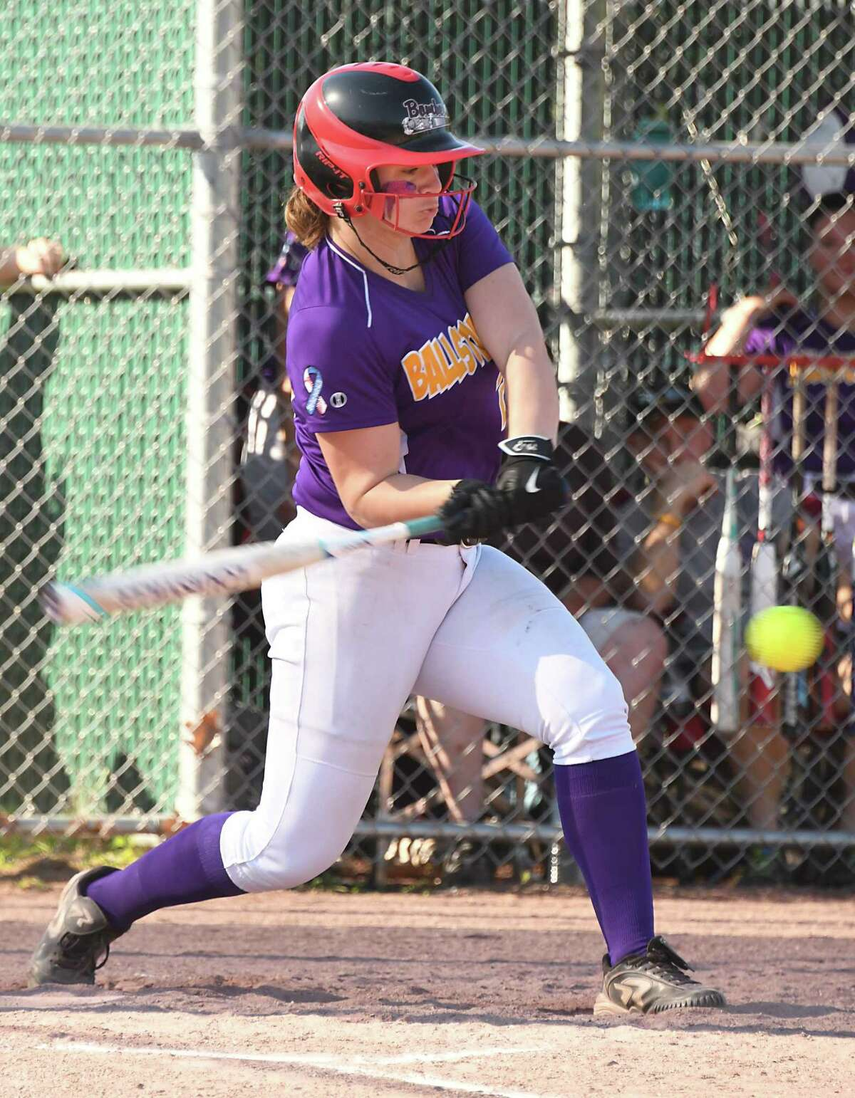 Ballston Spa pitcher Sarah Pritchard swings for the ball during the Class AA softball final against Columbia at the Luther Forest Complex on Wednesday, May 29, 2018 in Malta N.Y. (Lori Van Buren/Times Union)
