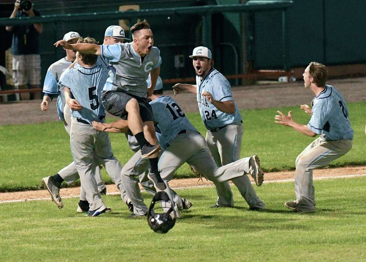 Columbia players celebrate a 3-2 win against Ballston Spa during a Section II Class AA Boys' baseball final Tuesday, May 29, 2018, in Troy, N.Y. (Hans Pennink / Special to the Times Union)