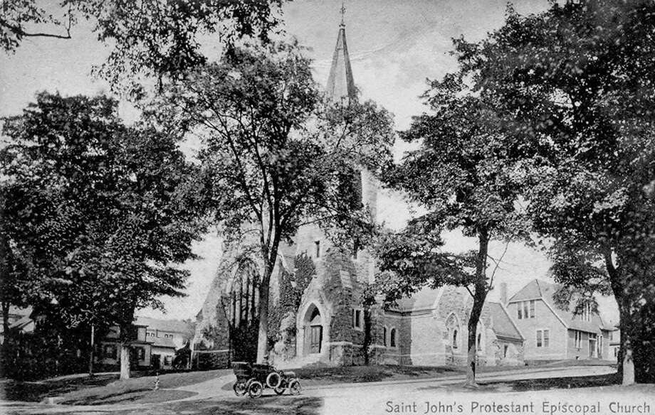 "St. John's Episcopal Church in New Milford is an anchor on the Village Green. The church is situated at the corner of Main Street and Whittlesey Avenue. The church is shown above on this postcard photograph. The postcard is sent by Katherine to Mrs. James Mannion, South Street, Danbury, in Janaury of 1908. If you have a ""Way Back When"" photograph you'd like to share, contact Deborah Rose at drose@newstimes.com or 860-355-7324. Photo: Contributed Photo / Contributed Photo / The News-Times Contributed"