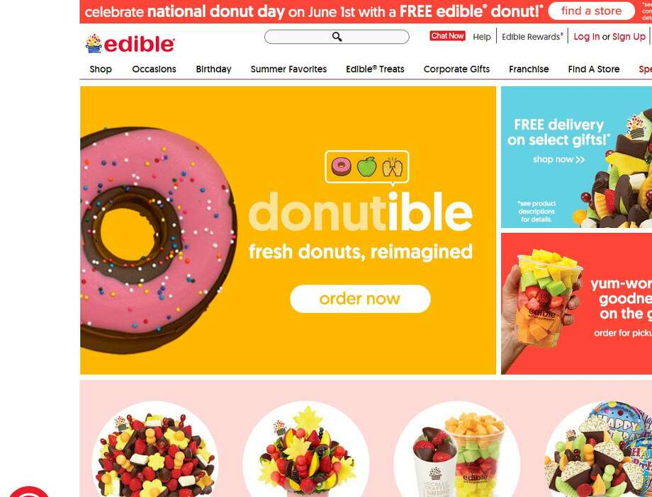With freebies on tap for National Donut Day on Friday, Edible Arrangements unveiled its new Edible Donuts featuring Granny Smith apples dipped in chocolate and other toppings. In addition to the June 1 offer of a free Edible Donut, Edible Arrangments will have a buy-one-get-one promotion running June 2-6.
