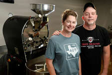 Belinda and Quinton Sheffield, owners of Brand 425 Coffee, a small batch coffee roaster in Kountze.  Photo taken Thursday 5/24/18 Ryan Pelham/The Enterprise