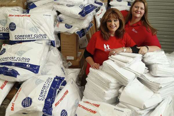 The mother daughter duo of Carolyn Faulk and Katie Clapp work together to run a national business, A&C Plastics, from facilities in south Houston, photographed Thursday, April 12, 2018, in Houston.  They have been dedicated to helping Harvey victims, using their warehouse and distribution facilities and business connections, to help Houston residents recover and rebuild from Harvey through their family foundation, The Faulk Foundation. To date, these two ladies alone, have distributed: • 5,000+ panels of sheetrock • More than $40,000 worth of cleaning supplies • Approximately 150 mattresses • More than $40,000 in gift cards • More than $100,000 in household goods. They continue to look for ways to help individuals and families in need, working with a group of volunteers who want to make sure that neighbors continue to help neighbors. ( Karen Warren / Houston Chronicle )