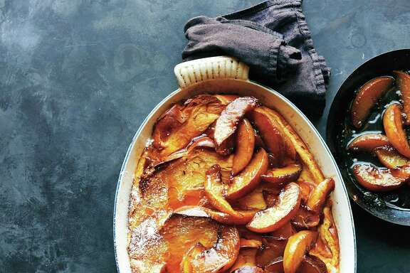 "French Toast Casserole With Caramelized Peaches from ""Just Cook It!"" by Justin Chapple."