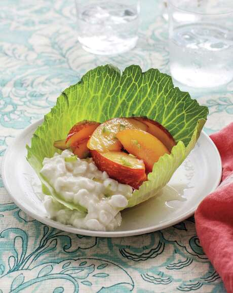 """Green Peach Salad With Simple Lime Dressing from """"Turnip Greens and Tortillas"""" by Eddie Hernandez with Susan Puckett. Photo: Angie Mosier /Houghton Mifflin Harcourt"""