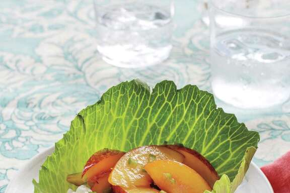 "Green Peach Salad With Simple Lime Dressing from ""Turnip Greens and Tortillas"" by Eddie Hernandez with Susan Puckett."