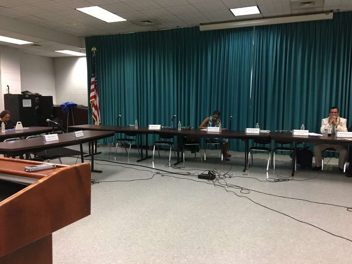 At one point after it was clear there would be no quorum, members of the public there to speak about issues like the naming of a new Harding, addressed the mostly empty Bridgeport Board of Education. May 29, 2018