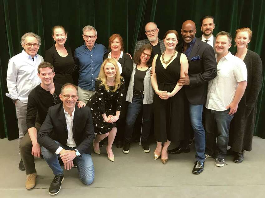 Rachel Sheinkin and William Finn (center) surrounded members of the cast and creative team for Barrington Stage's world premiere musical,